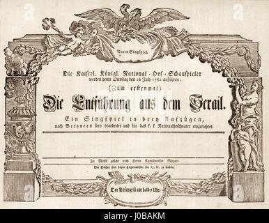 Mozart Die Entführung aus dem Serail Uraufführung 1782 - Stock Photo