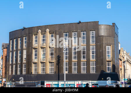 Art Deco Burton's gents outfitters shop exterior by Harry Wilson, 1936, Whitefriargate, Kingston-upon-Hull, Yorkshire, - Stock Photo