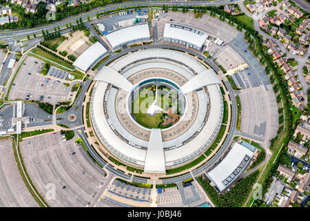 UNITED KINGDOM: GCHQ, Cheltenham, Gloucestershire. STUNNING aerial images show the scale of the industrialisation - Stock Photo