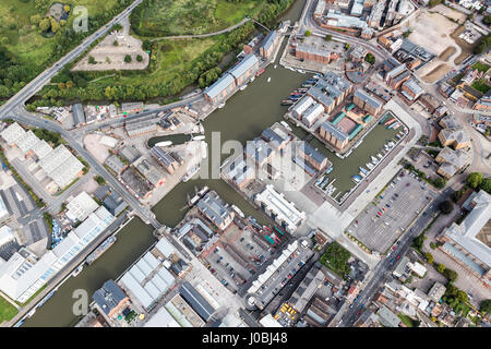 UNITED KINGDOM: Gloucester Docks, Gloucester, Gloucestershire. STUNNING aerial images show the scale of the industrialisation - Stock Photo