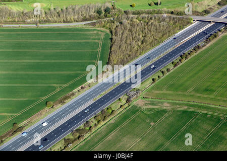 UNITED KINGDOM: The M5 contrasting with the surrounding rural area. STUNNING aerial images show the scale of the - Stock Photo
