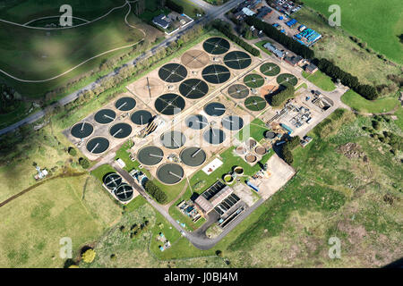 UNITED KINGDOM: Longbridge Sewage Treatment Works, Warwick. STUNNING aerial images show the scale of the industrialisation - Stock Photo