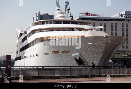View of the Bows of 'The Sunbourn' a  Super-Yacht  Hotel,  moored next to the ExCel Centre, at the Royal Victoria - Stock Photo