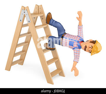 3d working people illustration. Electrician falling off a ladder. Work accident. Isolated white background. - Stock Photo