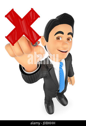 3d business people illustration. 3D Businessman drawing a red cross with a red marker pen. Isolated white background. - Stock Photo