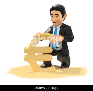 3d business people illustration. Businessman making euro symbol with beach sand. Isolated white background. - Stock Photo