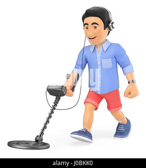 3d young people illustration. Young man in shorts walking with a metal detector and headphones. Isolated white background. - Stock Photo