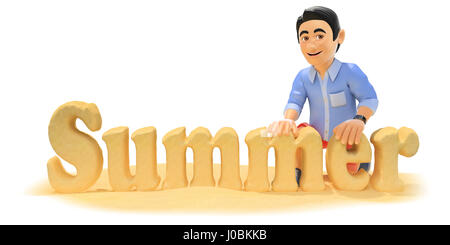 3d young people illustration. Man in shorts making the word summer with beach sand. Isolated white background. - Stock Photo