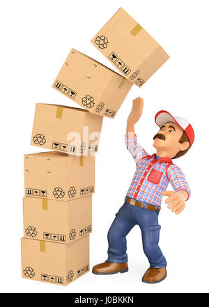 3d working people illustration. Delivery man with a pile of boxes falling on top. Work accidents. Isolated white - Stock Photo