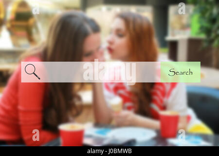 search bar on blurred background shopping young girls - Stock Photo