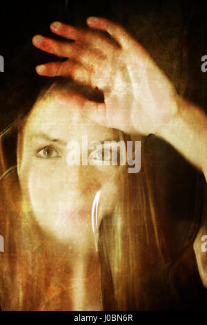 scratched dirty effect on photo girl face behind dirty glass - Stock Photo