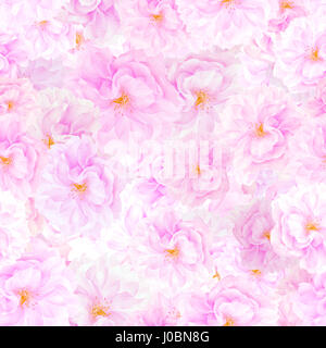 SEAMLESS pattern of sakura blossoms. Floral print background - Stock Photo