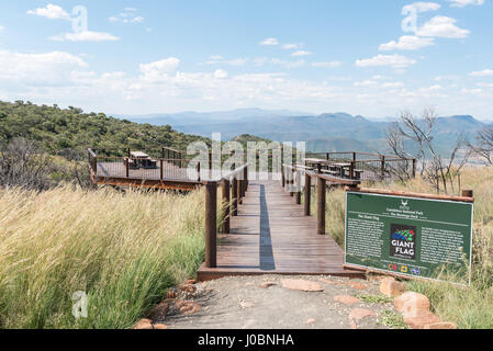 CAMDEBOO NATIONAL PARK, SOUTH AFRICA - MARCH 22, 2017: The Montego deck viewpoint at the parking area of the Valley - Stock Photo