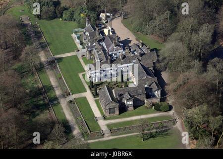 aerial view of Smithills Hall near Bolton, Lancashire, UK - Stock Photo