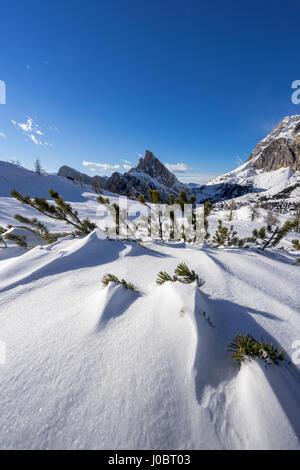Falzarego Pass or Passo Falzarego near Cortina d`ampezzo in the Italian Dolomites - Belluno - Italy - Stock Photo