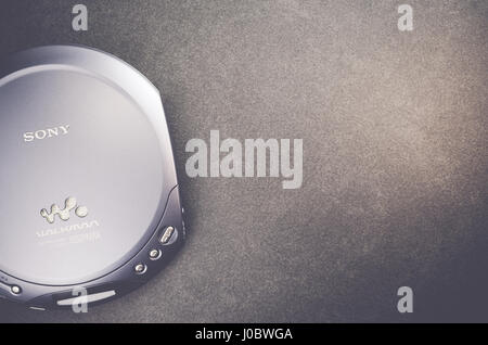 vintage sony brand walkman portable CD player - top perspective - Stock Photo