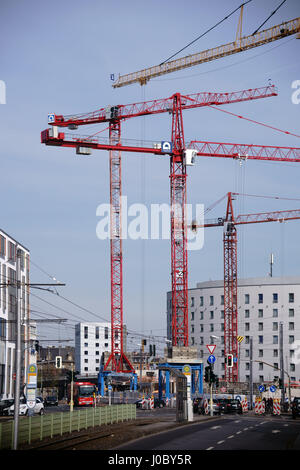 Mainz, Germany - March 24, 2017: Road construction sites and petrol station construction sites with cranes on the - Stock Photo