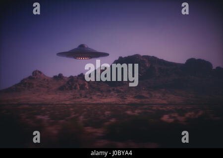 3D illustration with photography. Alien spaceship flying with panning effect. - Stock Photo
