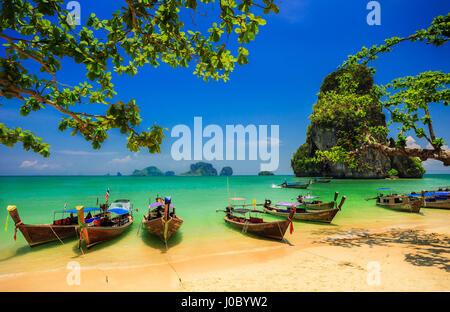 Traditional longtail boat at Railay beach, Ao Nang, Thailand - Stock Photo