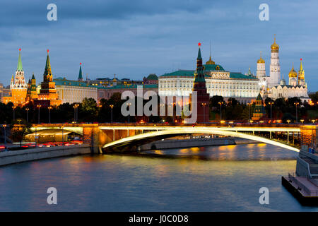 View of the Kremlin on the banks of the Moscow River, Moscow, Russia - Stock Photo