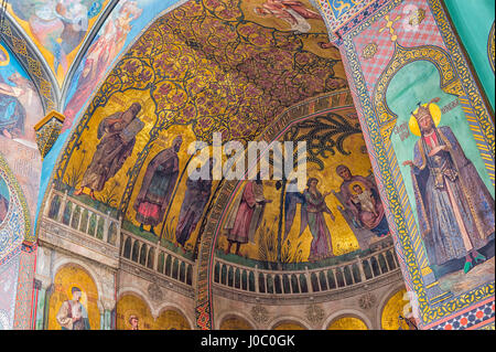 Sioni Cathedral, interior frescoes representing Biblical scenes, Tbilisi, Georgia, Caucasus, Asia - Stock Photo