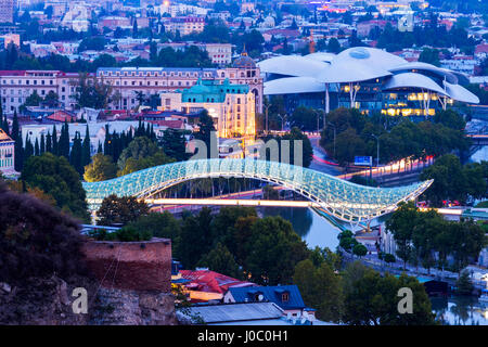 Overview over Tbilisi at dawn, Georgia, Caucasus, Asia - Stock Photo