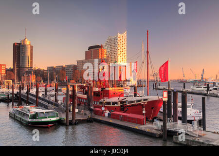 Elbphilharmonie at sunset, Elbufer, HafenCity, Hamburg, Hanseatic City, Germany - Stock Photo
