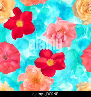 Seamless photo rose floral pattern on watercolor texture - Stock Photo