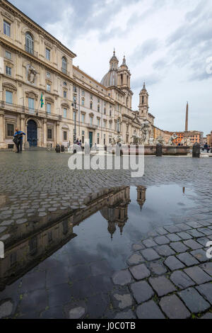 Piazza Navona with Fountain of the Four Rivers and the Egyptian obelisk, Rome, Lazio, Italy - Stock Photo