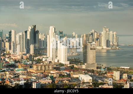 View over the skyline of Panama City from El Ancon, Panama, Central America - Stock Photo