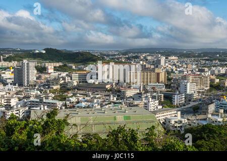 View over Naha from the Shikinaen Garden (Shikina-en Garden), UNESCO World Heritage Site, Naha, Okinawa, Japan, Asia