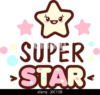 Cute little face and super star lettering illustration. illustration of isolated with phrase on white. Vector style - Stock Photo