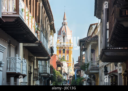 Colonial architecture in the UNESCO World Heritage Site area, Cartagena, Colombia - Stock Photo