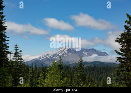 Cloud over Mount St. Helens, part of the Cascade Range, Pacific Northwest region, Washington State, USA - Stock Photo