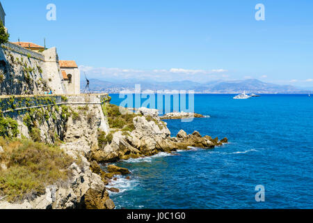 City walls, Antibes, Alpes Maritimes, Cote d'Azur, Provence, France, Mediterranean - Stock Photo