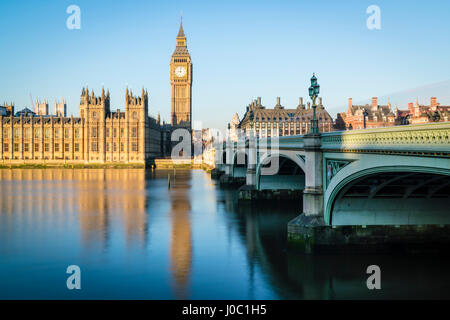 Big Ben, the Palace of Westminster, UNESCO World Heritage Site, and Westminster Bridge, London, England, UK - Stock Photo