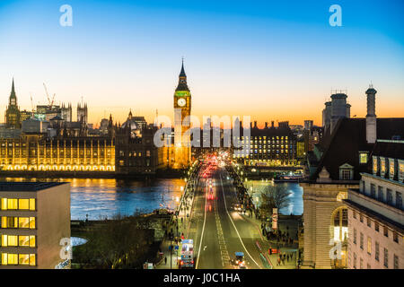 High angle view of Big Ben, the Palace of Westminster and Westminster Bridge at dusk, London, England, UK - Stock Photo