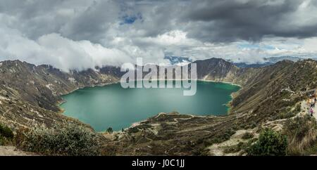 Panorama of Quilotoa, a water-filled caldera and the most western volcano in the Ecuadorian Andes, Ecuador - Stock Photo