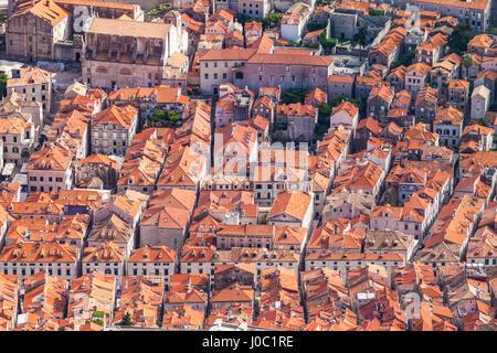 Aerial rooftop view of Dubrovnik Old Town, UNESCO World Heritage Site, Dubrovnik, Dalmatian Coast, Croatia - Stock Photo