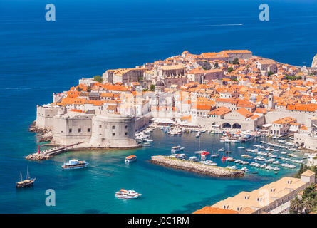 Aerial view of Old Port and Dubrovnik Old town, UNESCO World Heritage Site, Dubrovnik, Dalmatian Coast, Croatia - Stock Photo