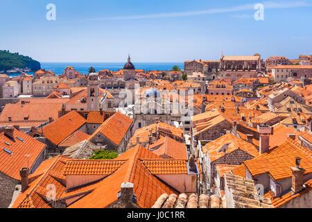 Terracotta tile rooftop view of Dubrovnik Old Town, UNESCO World Heritage Site, Dubrovnik, Dalmatian Coast, Croatia - Stock Photo