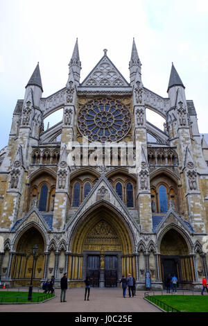 North entrance of Westminster Abbey, London, England, UK - Stock Photo