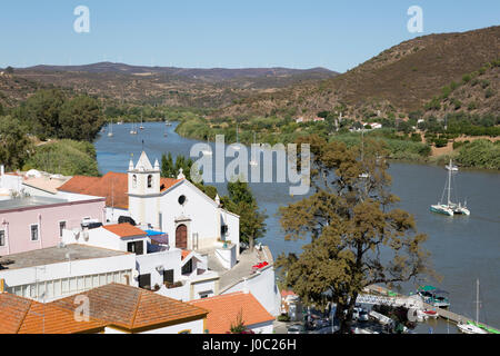 View over whitewashed village of Alcoutim on Rio Guadiana river, Alcoutim, Algarve, Portugal - Stock Photo