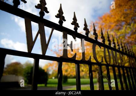 Welcome Sign on Public Park Gates, Platt Field - Stock Photo