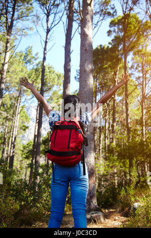 Young woman, hiking, arms raised, looking at view, rear view, Cape Town, South Africa - Stock Photo