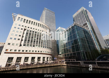 Wide Angle image of  Canary Wharf  Business' District at the West India Docks on the Isle of Dogs. - Stock Photo