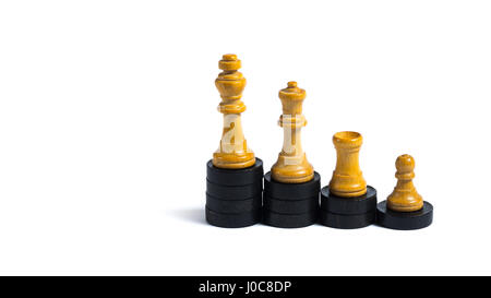Chess figures on little wooden chips - Concept of progression - Stock Photo