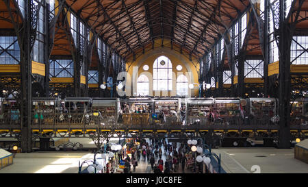 BUDAPEST, HUNGARY, MARCH 25, 2017 - Central Market Hall, the biggest and oldest market in Budapest, people shopping - Stock Photo