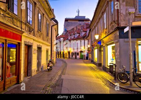 Old Ljubljana cityscape cobbled street evening view, capital of Slovenia - Stock Photo