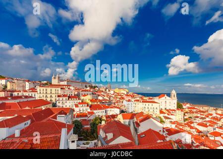 Alfama at night, Lisbon, Portugal - Stock Photo